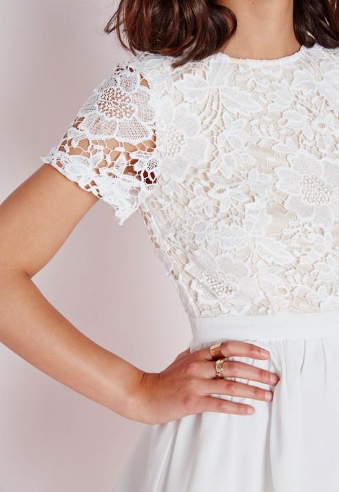 White lace skater dress long sleeve