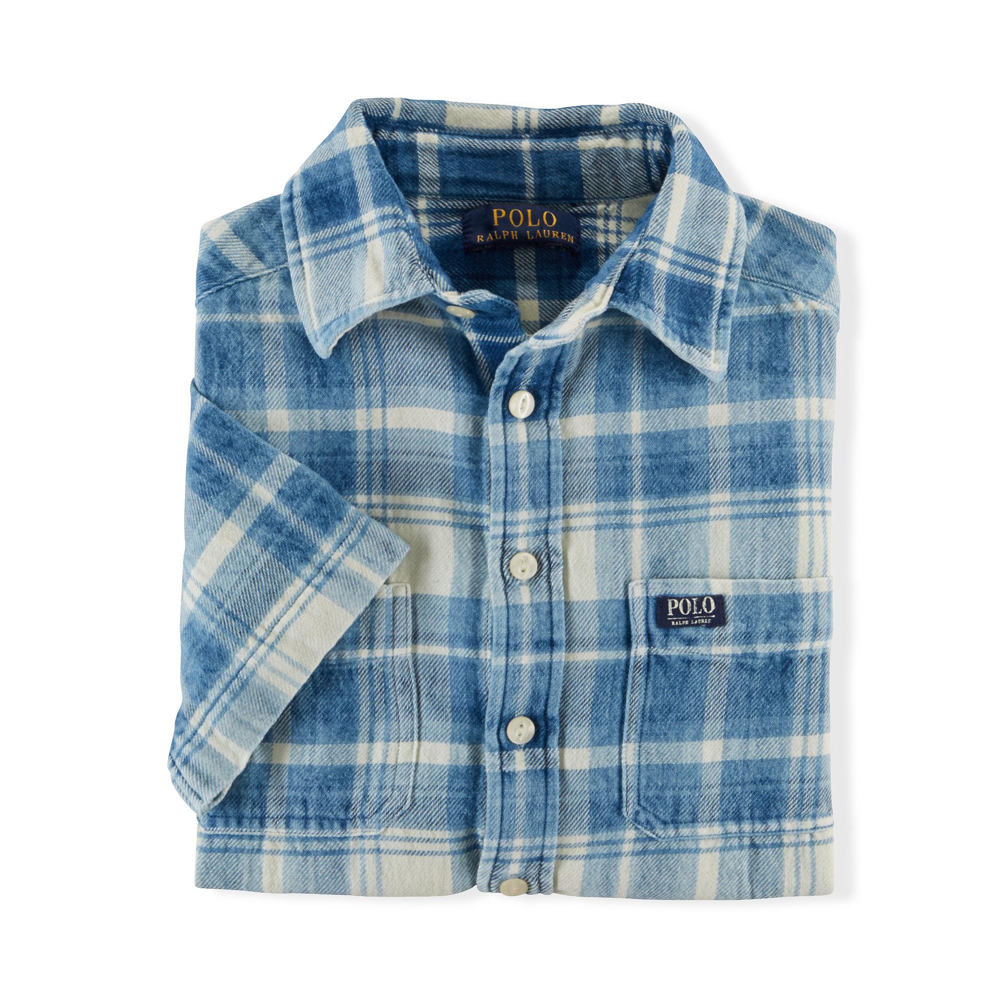 Ralph lauren indigo plaid cotton workshirt in blue for men for White cotton work shirts
