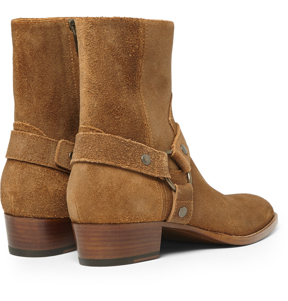 af4ad8c1f03 Saint Laurent Brown Suede Harness Boots for men