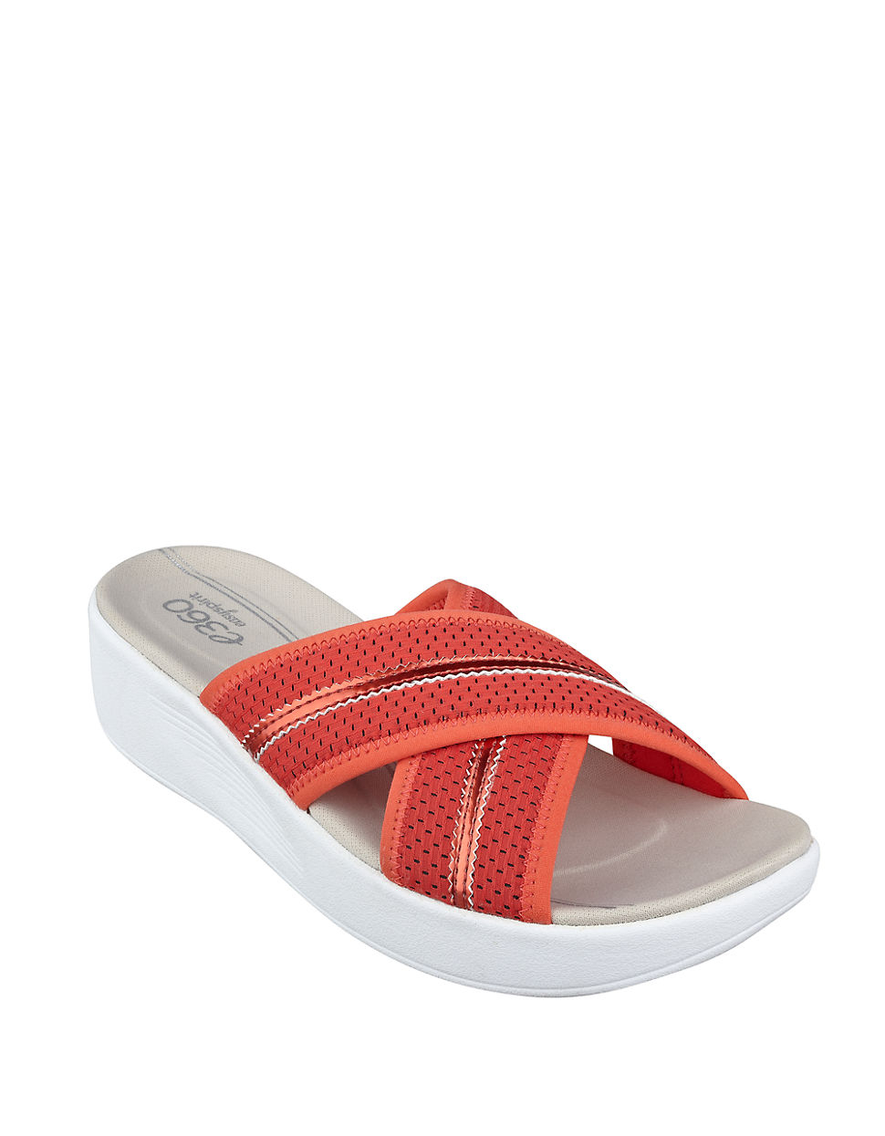 Easy Spirit Beach Slip On Wedge Platform Sandals In Red Lyst