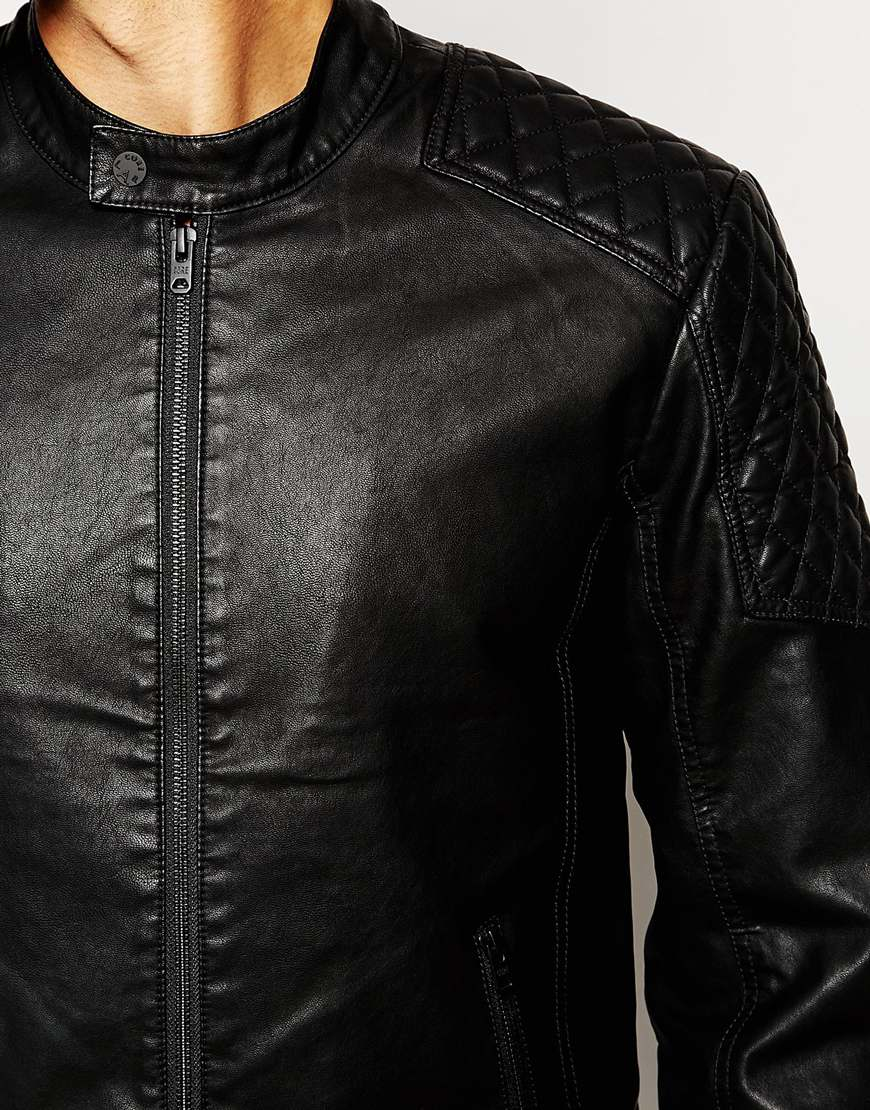 jack jones faux leather biker jacket with quilted sleeves in black. Black Bedroom Furniture Sets. Home Design Ideas