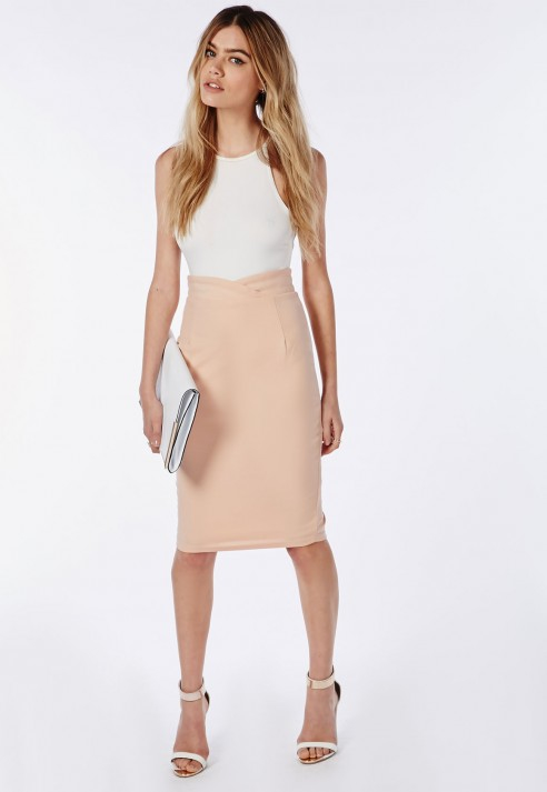 Missguided Wrap Waistband High Waist Midi Skirt Nude in Natural | Lyst