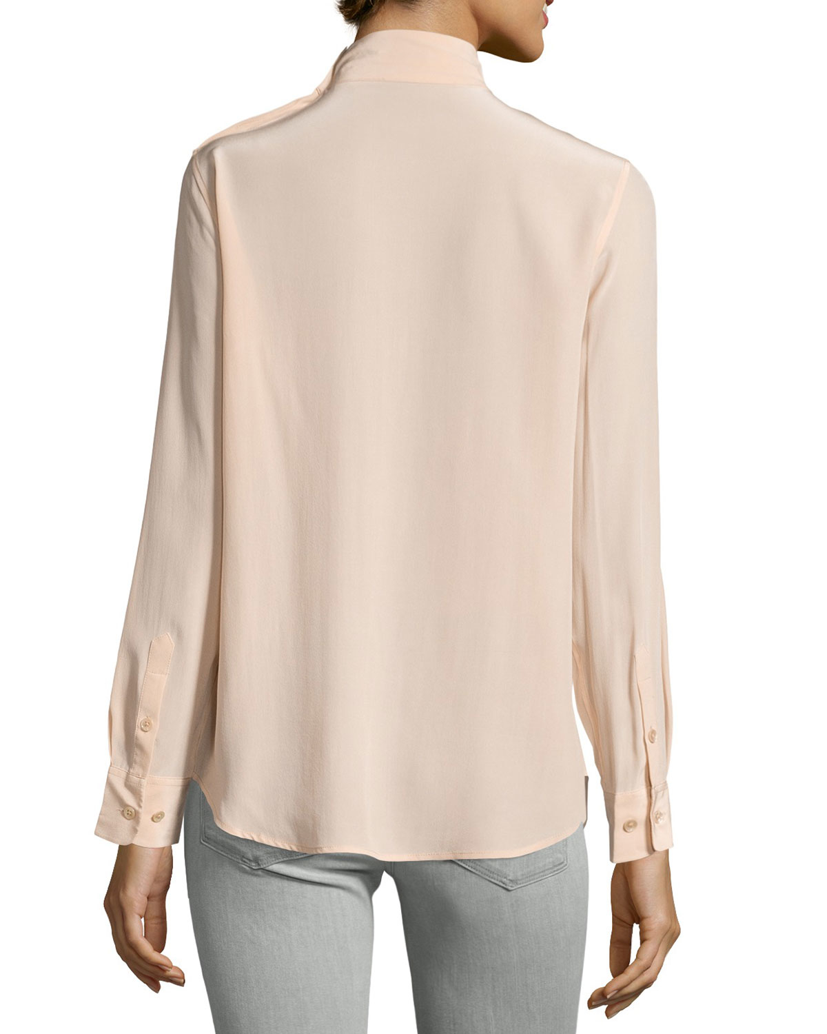 cd44db390cbbfd Lyst - Equipment Curtis Mock-neck Silk Blouse in Natural