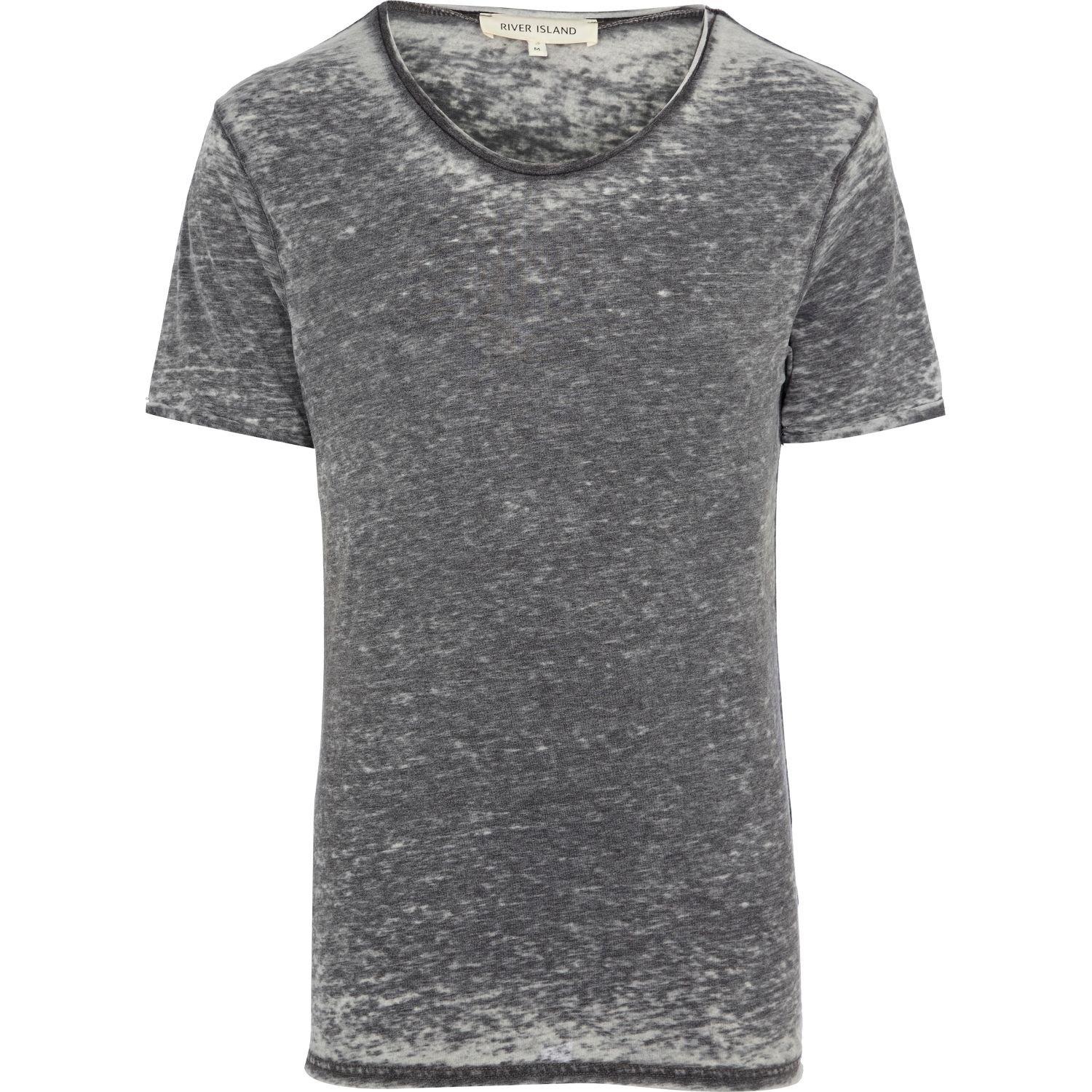 River Island Grey Burnout Low Scoop Neck T Shirt In Gray