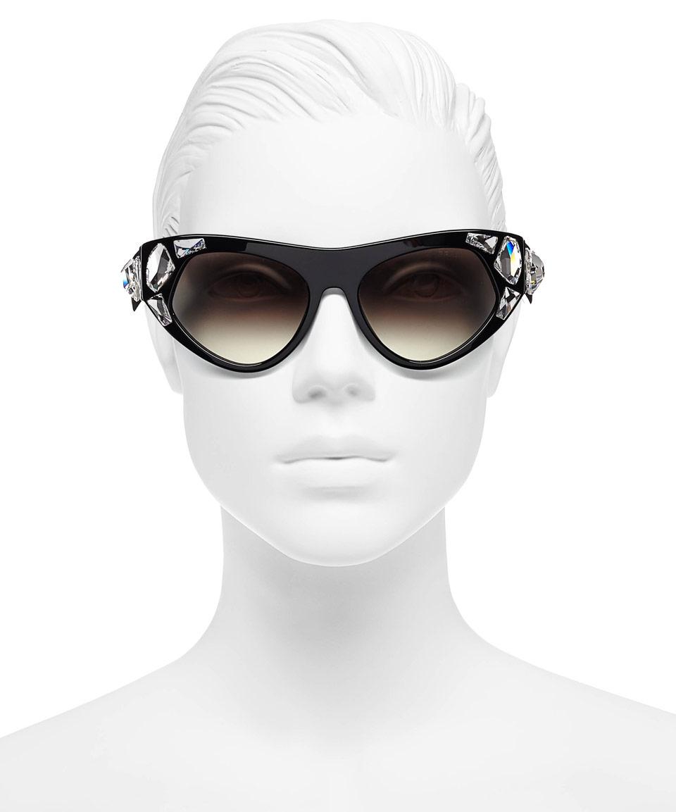 ec056b89d141 ... discount code for lyst prada black crystal irregular frame sunglasses  in black f67be d7748
