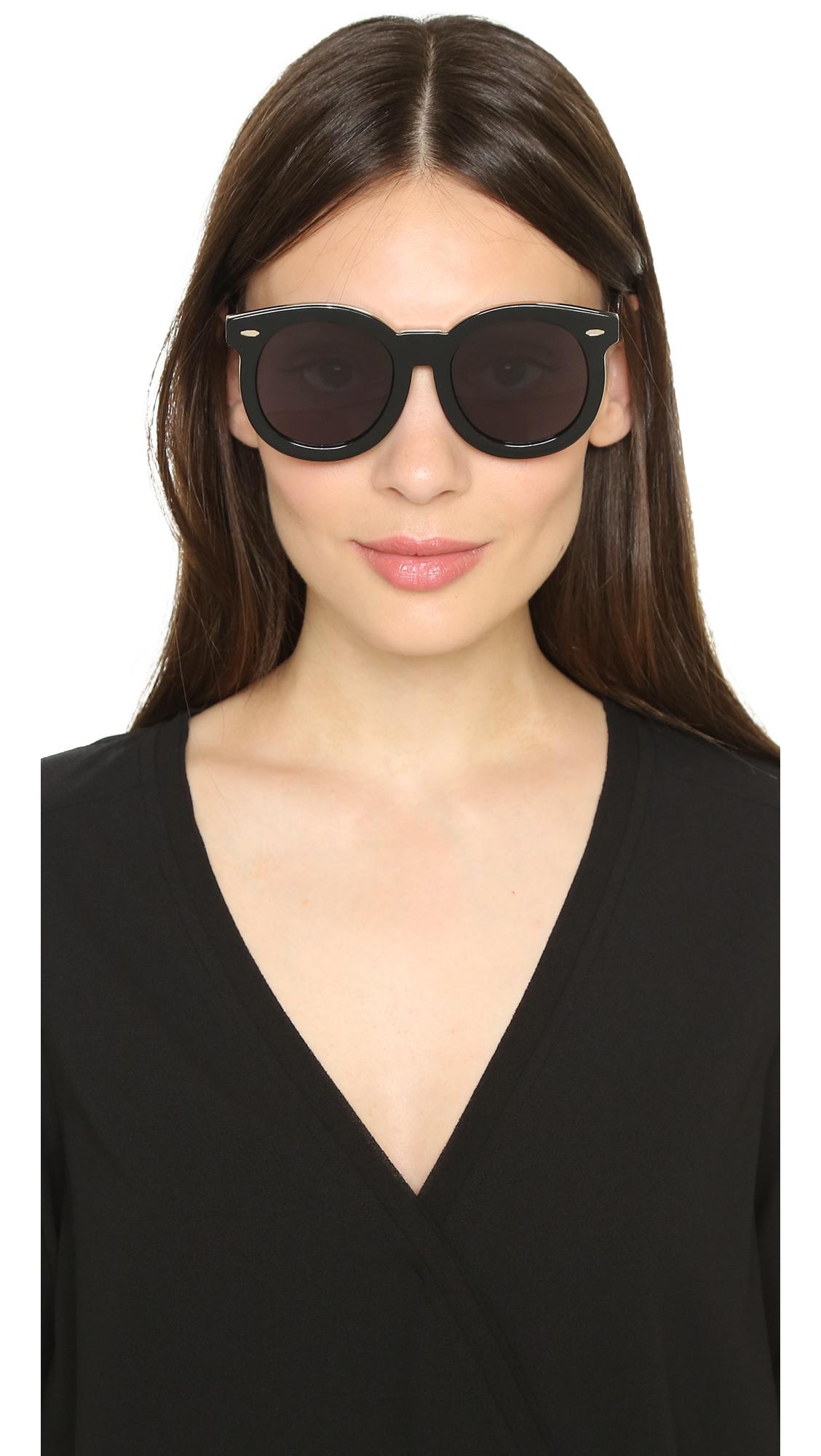 c6cd34e8b953 Lyst - Karen Walker Special Fit Super Duper Thistle Sunglasses -  Black smoke Mono in Black