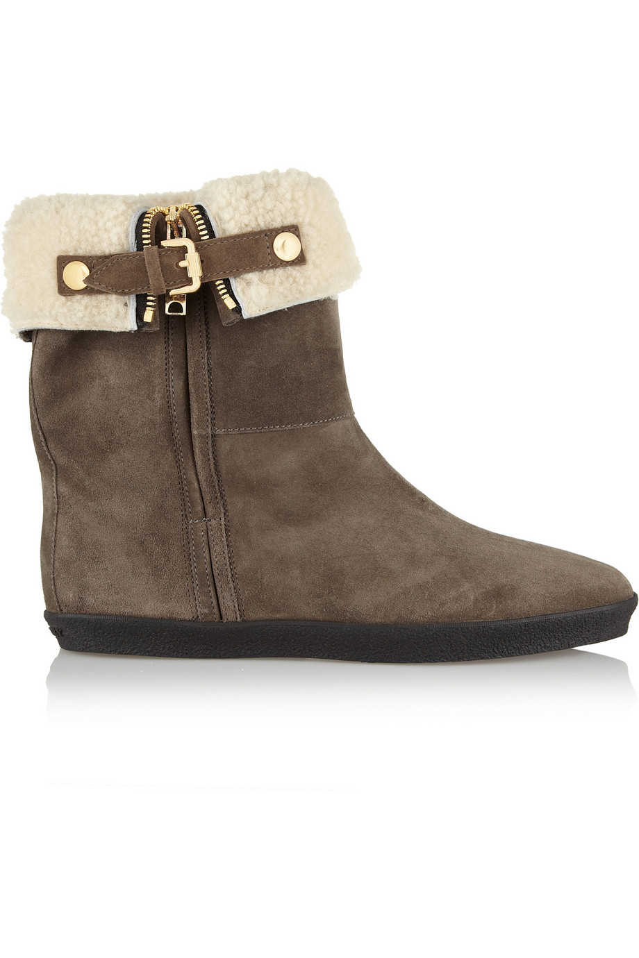 burberry shearling lined suede ankle boots in gray lyst