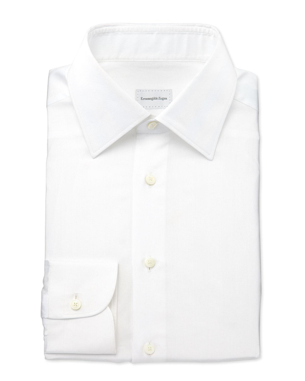 Ermenegildo zegna woven herringbone dress shirt in white for White herringbone dress shirt