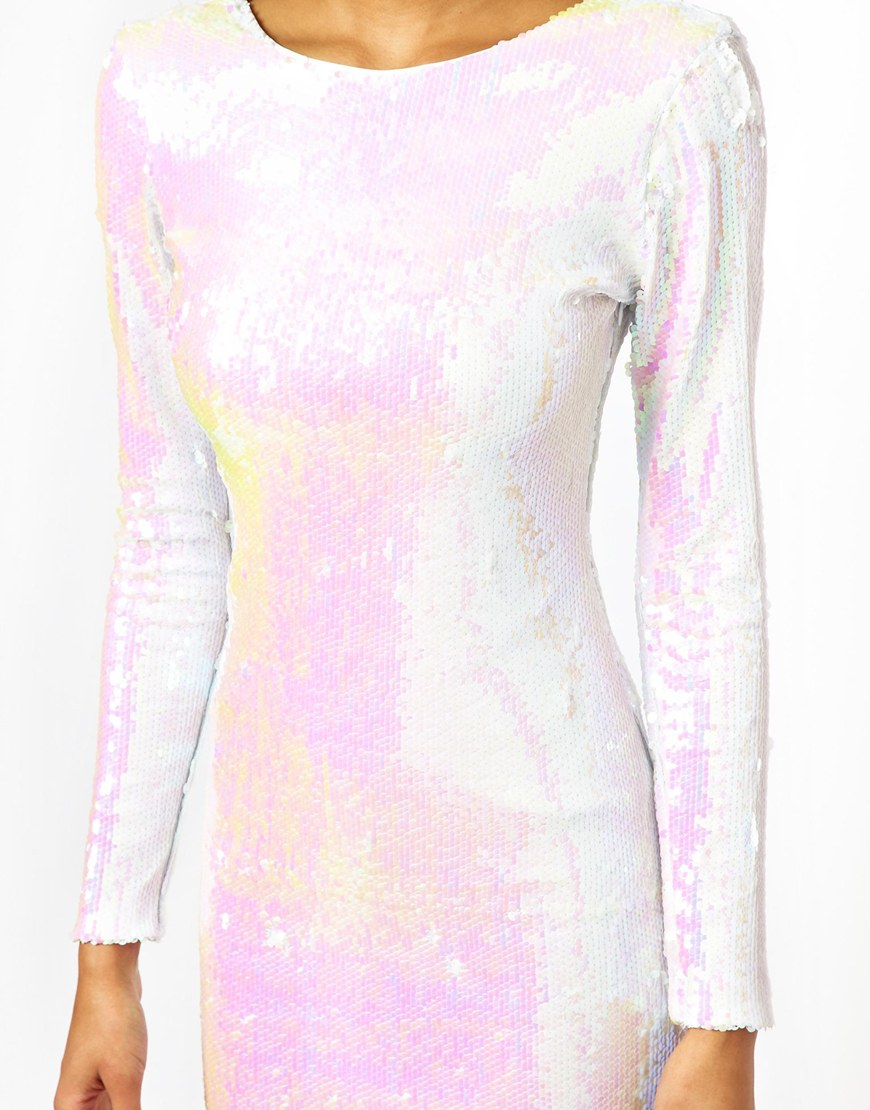 Asos All Over Sequin Bodycon Dress In White Lyst