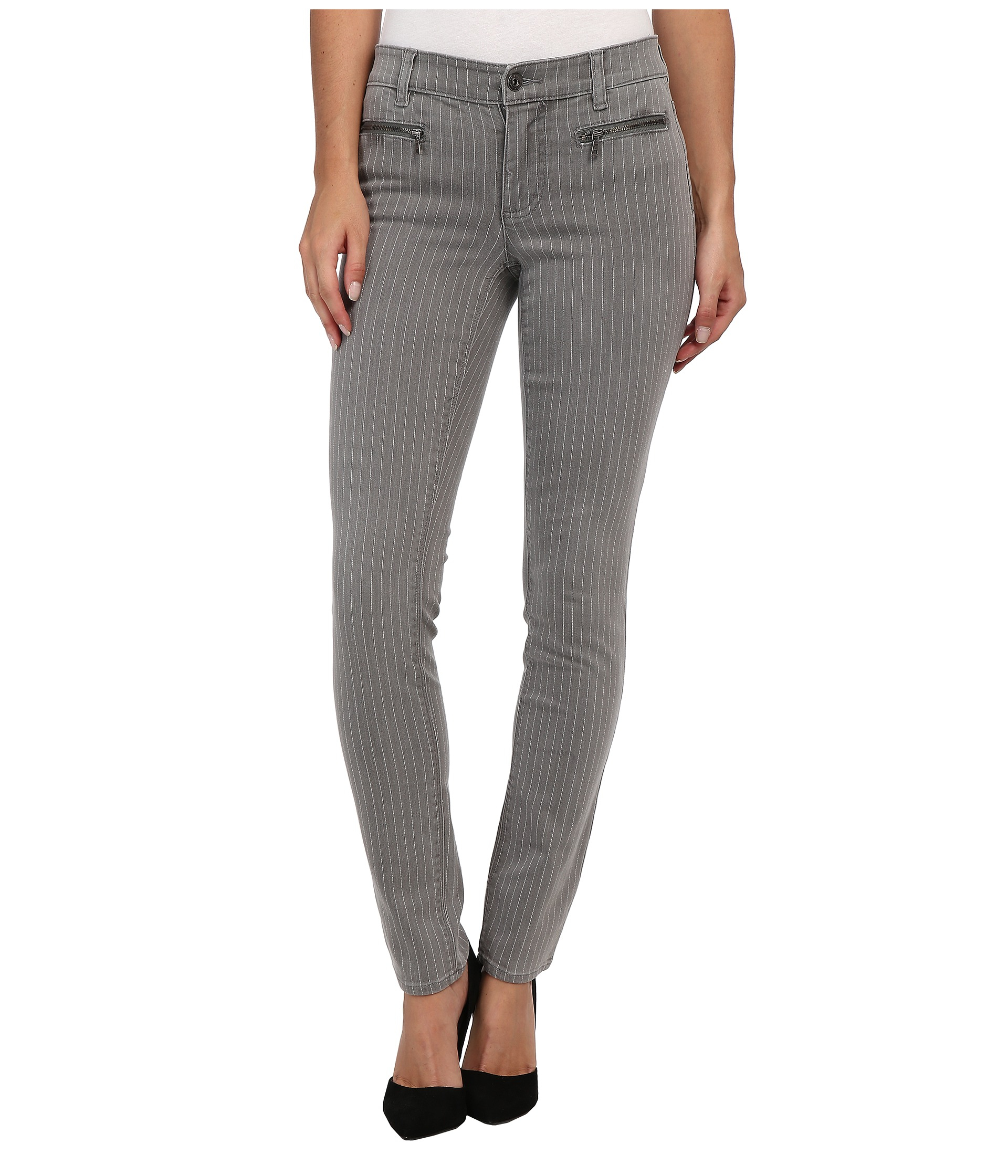 Lyst - Two By Vince Camuto Pinstripe Front Zip Pocket ...