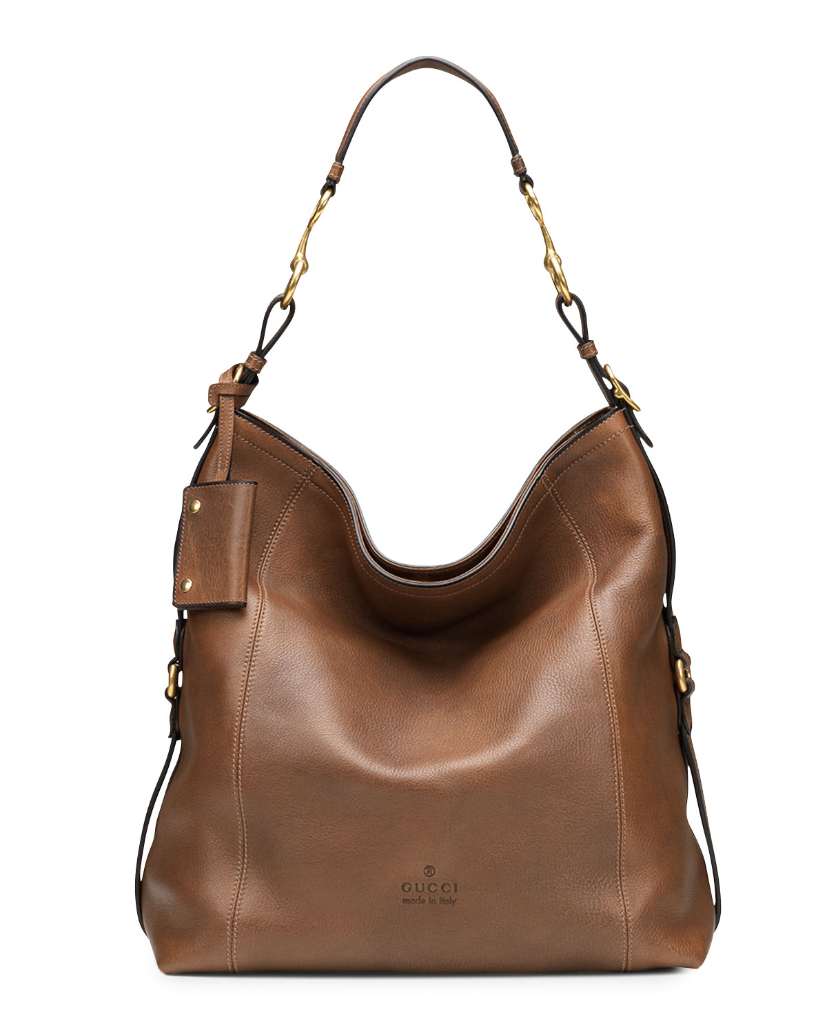 Lyst - Gucci Harness Leather Hobo Bag in Brown c3d700aec