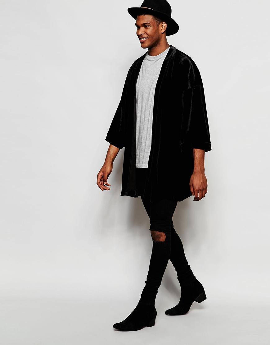Lyst Asos Velvet Kimono In Black In Black For Men