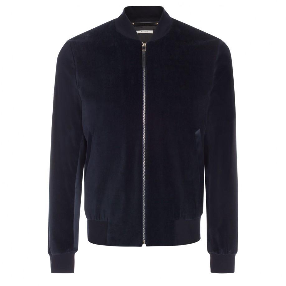 Paul Smith Mens Navy Cotton Blend Velvet Bomber Jacket In Blue For Jaket Unisex Nevy Gallery