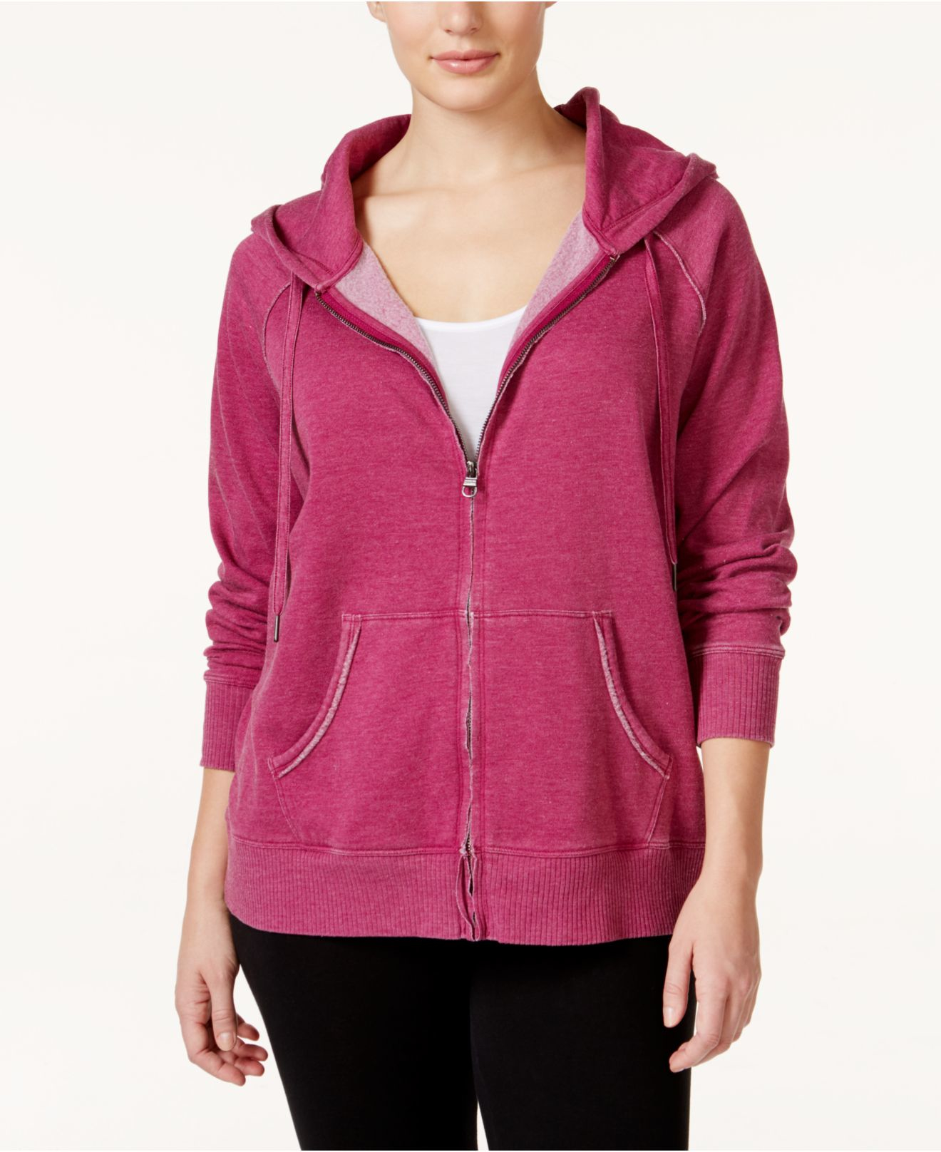 calvin klein performance plus size zipped hoodie in purple lyst. Black Bedroom Furniture Sets. Home Design Ideas