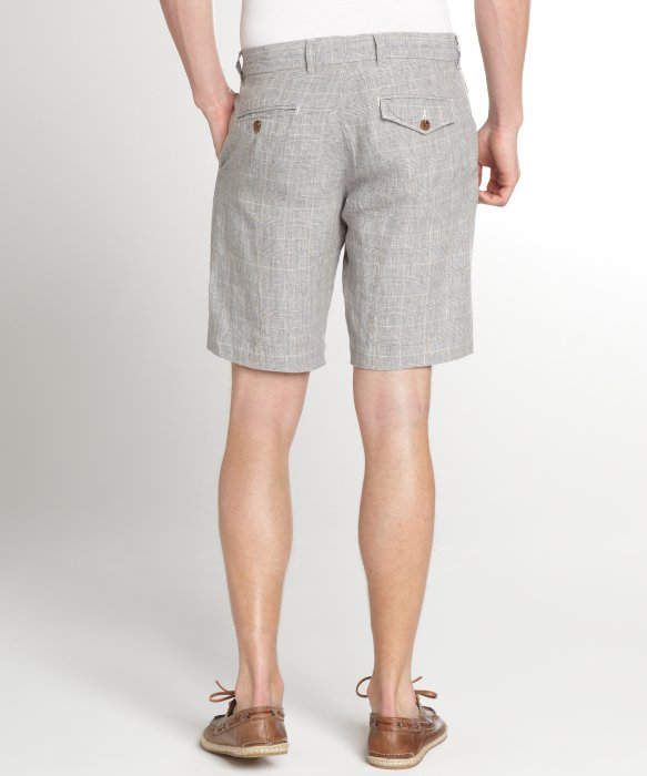 French connection Grey Check Linen Shorts in Gray for Men | Lyst