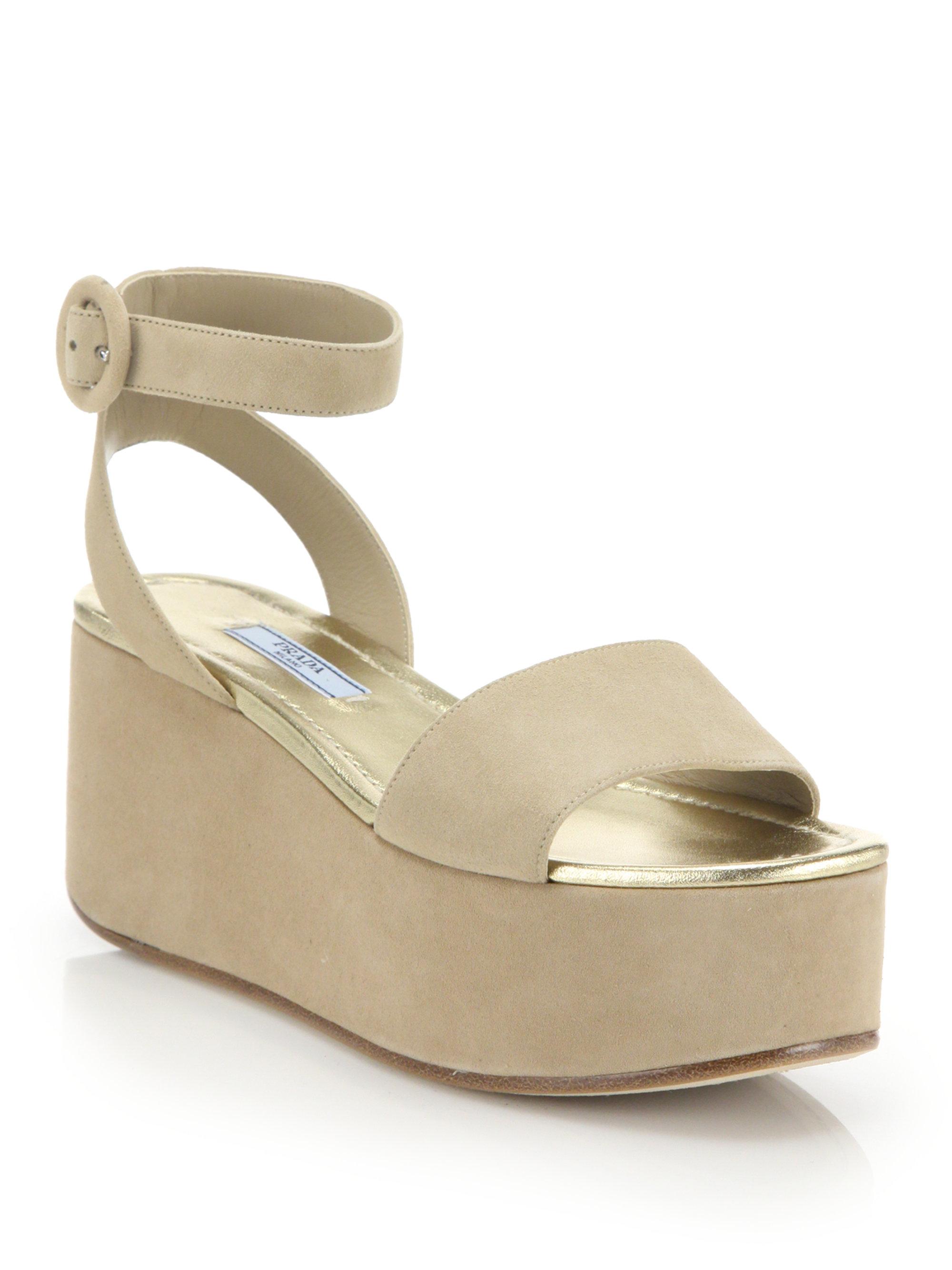 08ff7fb8f564 Lyst - Prada Suede Platform Wedge Sandals in Natural