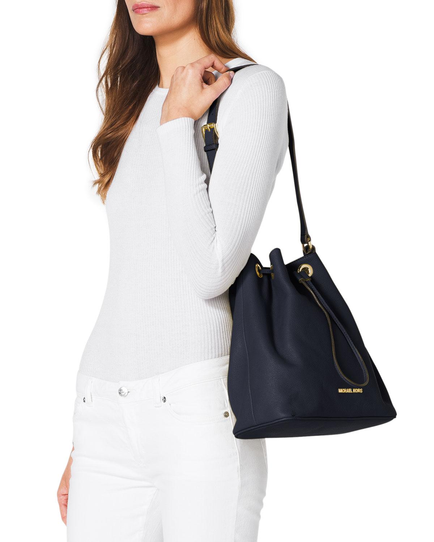 e4edae0944bb27 ... low price lyst michael michael kors large jules drawstring shoulder bag  in blue f2c69 21ffe