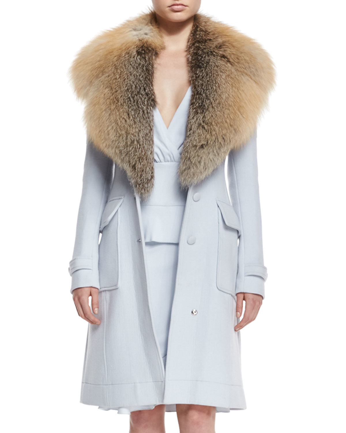 closer at undefeated x detailed images Altuzarra Fox-fur Collar Wool-blend Coat in Blue - Lyst