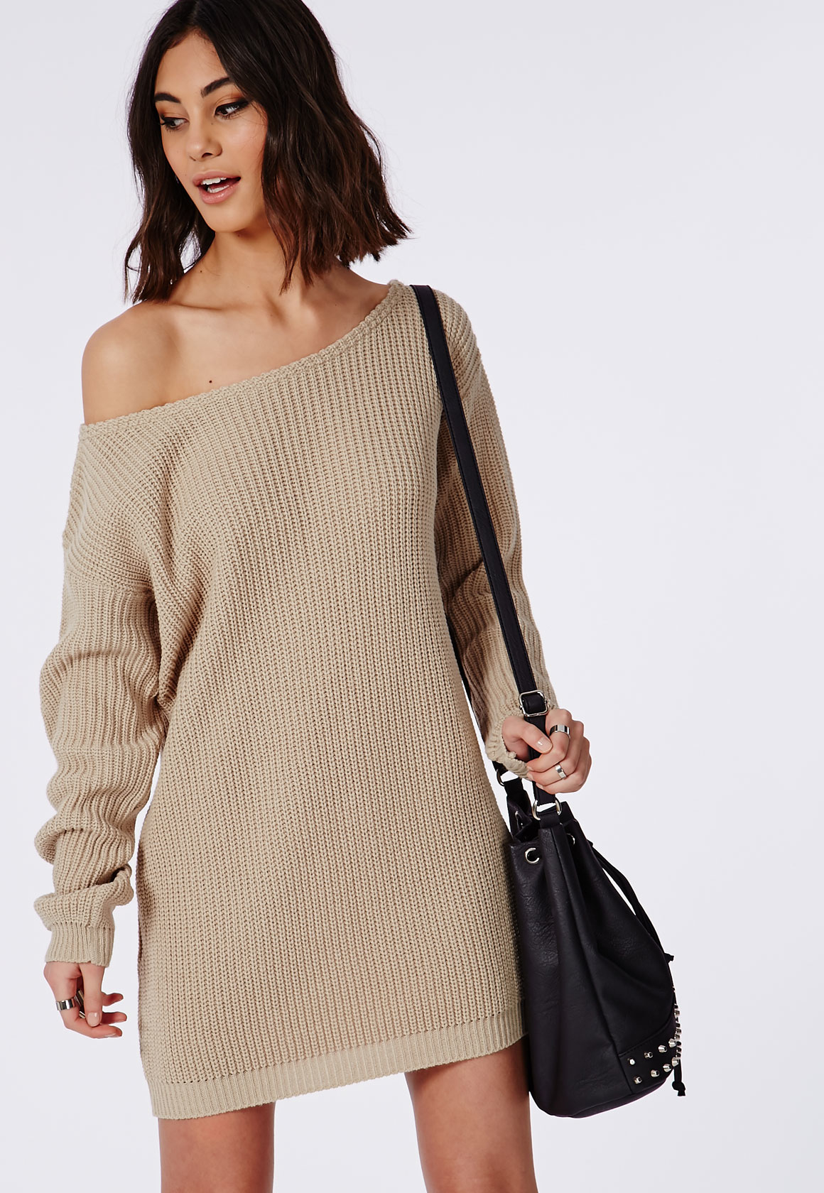 6be4b31e43 Missguided Ayvan Off Shoulder Knitted Sweater Dress Light Stone in ...