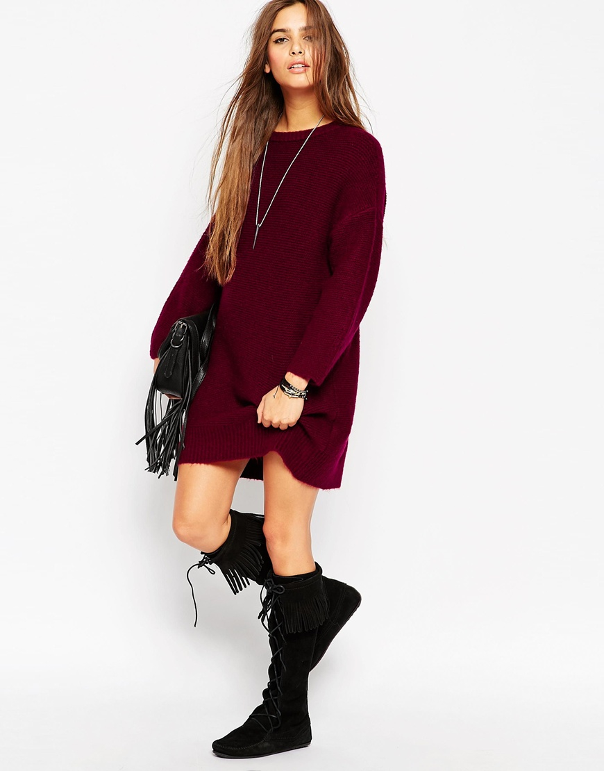 Asos Oversized Jumper Dress In Chunky Knit in Purple | Lyst