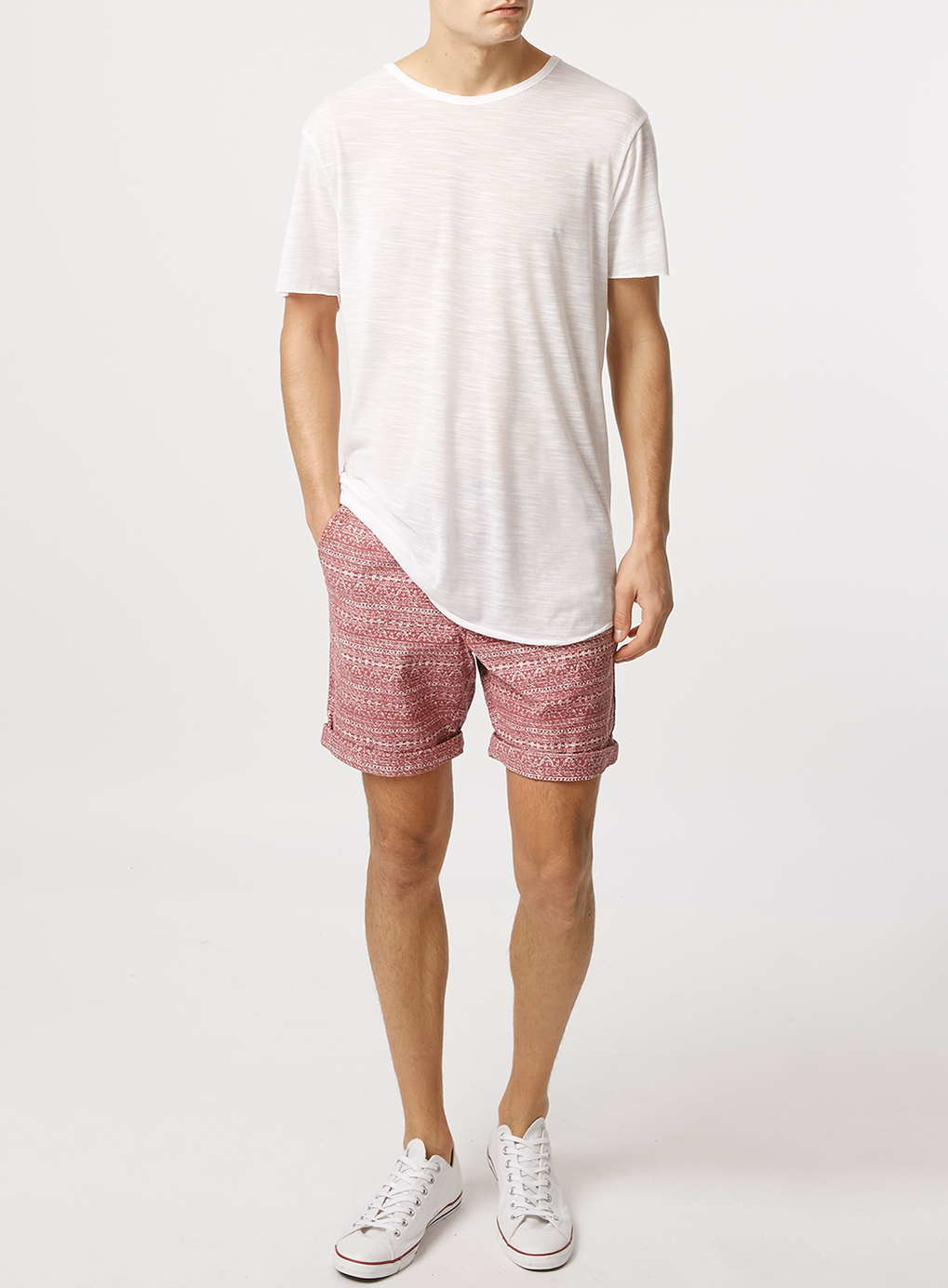 Topman White Slub Long Line T-shirt in White for Men | Lyst