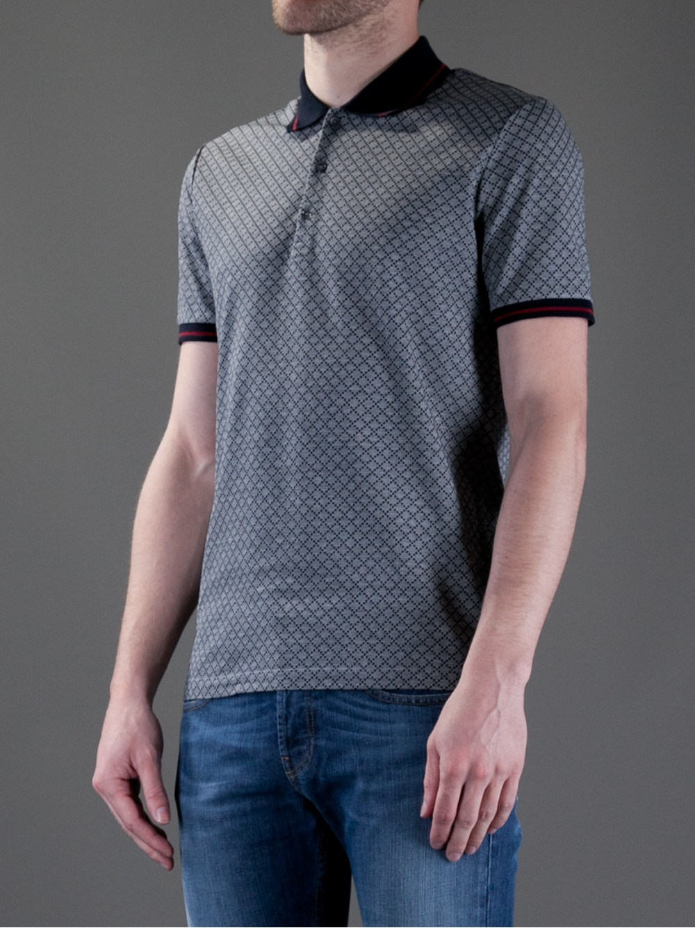 16a761048 Gucci Checked Polo Shirt in Gray for Men - Lyst