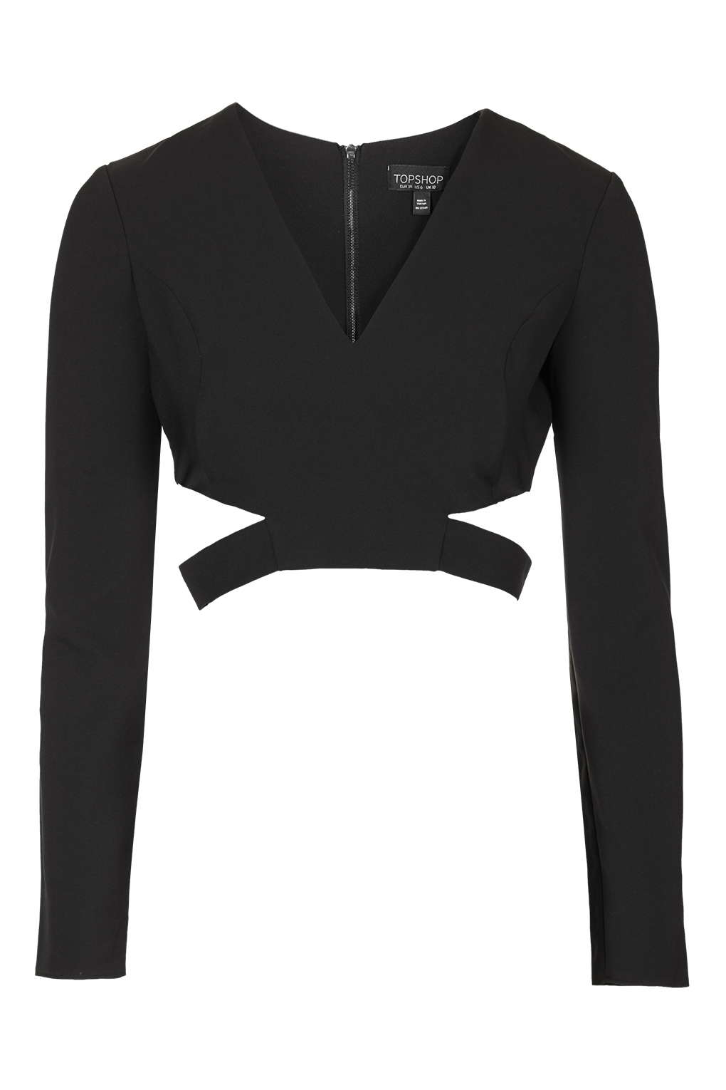 Topshop Cut Out Side Crop Top In Black Lyst
