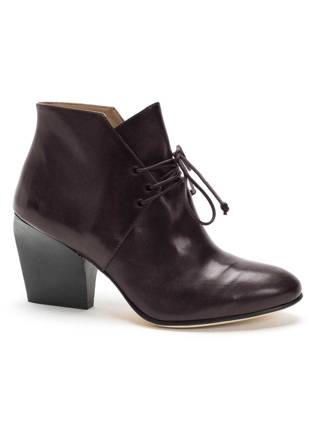 atalanta weller burgundy leather tie up ankle boot in