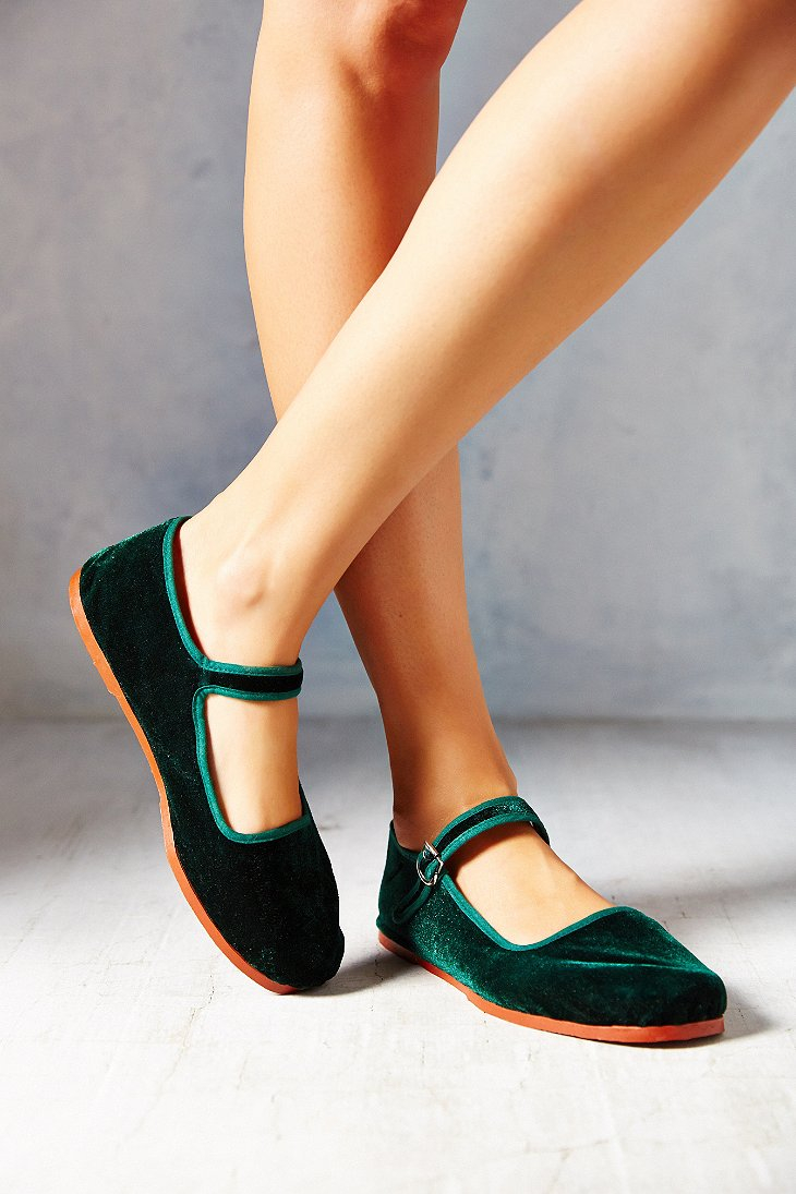 Urban Outfitters Velvet Mary Jane In Green Lyst