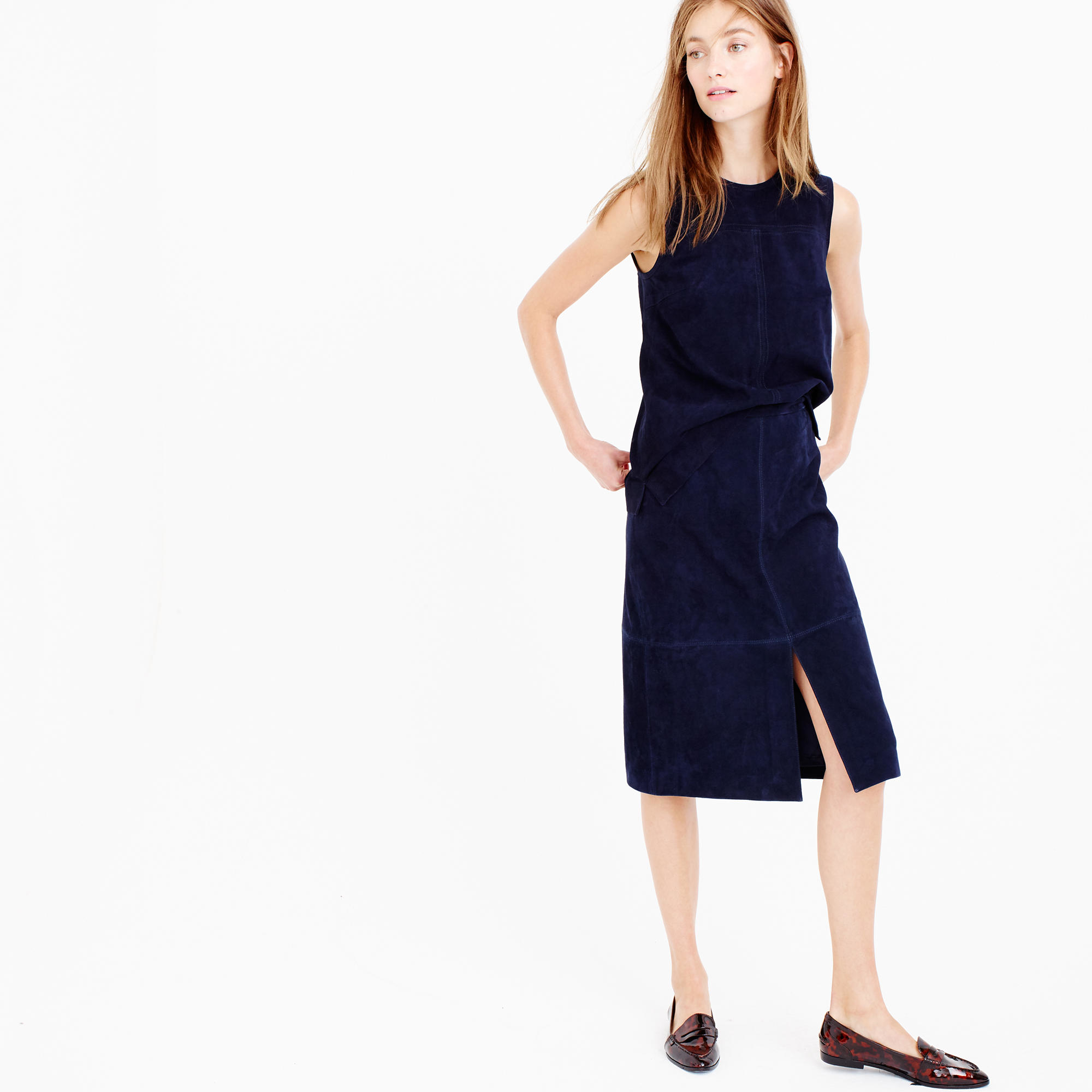 J.crew Collection A-line Midi Skirt In Suede in Blue | Lyst