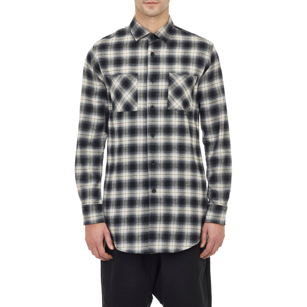 Fear of god back zip plaid flannel shirt in gray for men for Zip front flannel shirt