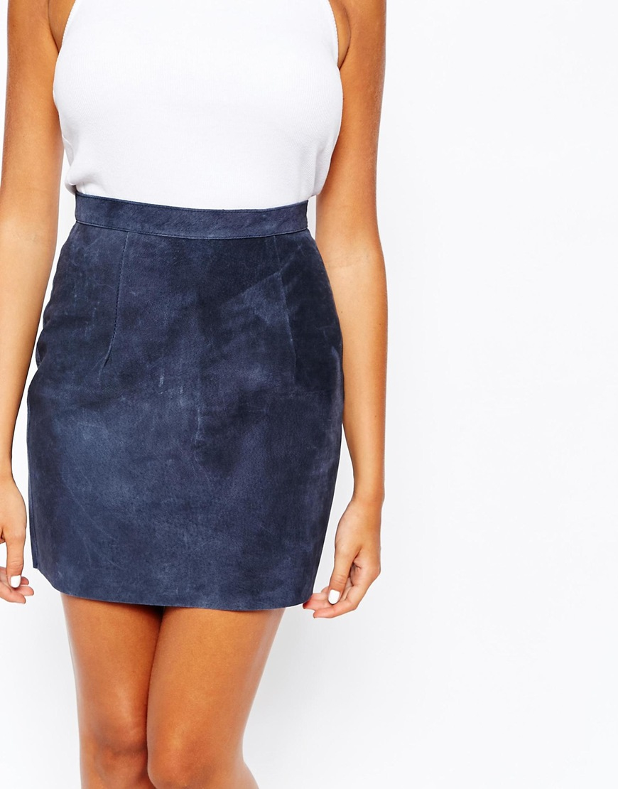 American apparel Suede Mini Skirt in Blue | Lyst