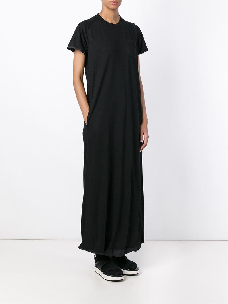 Sacai Luck Classic Long T Shirt Dress In Black Lyst