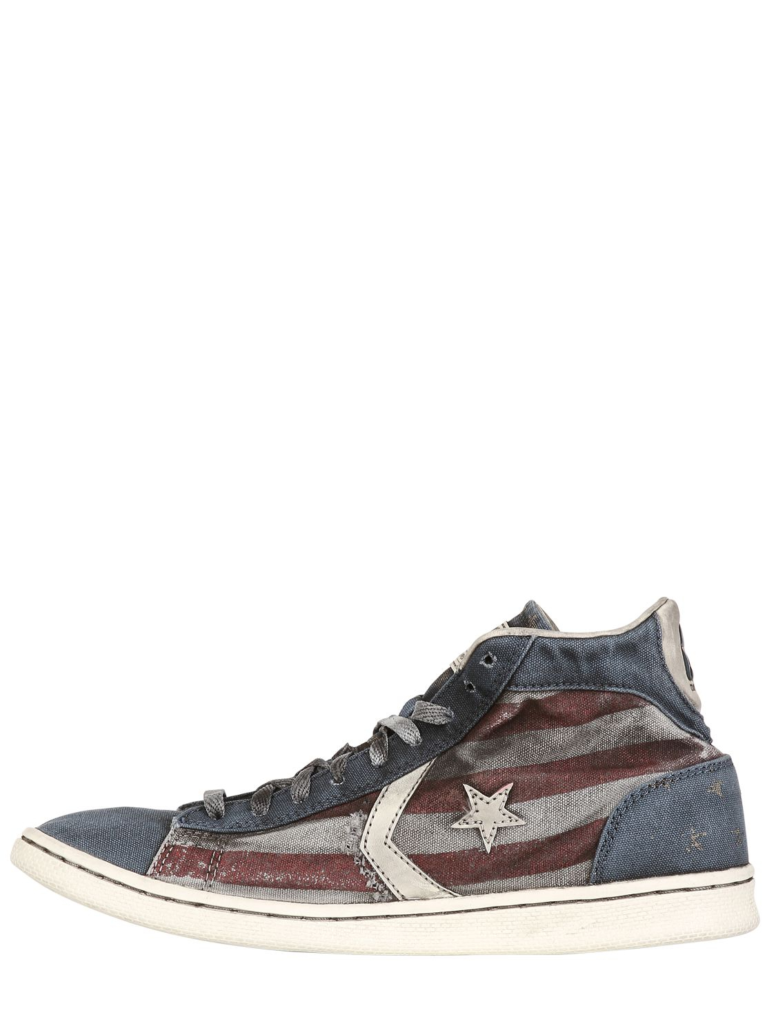 Converse Smoke Pro Leather Mid Canvas Sneakers In Red