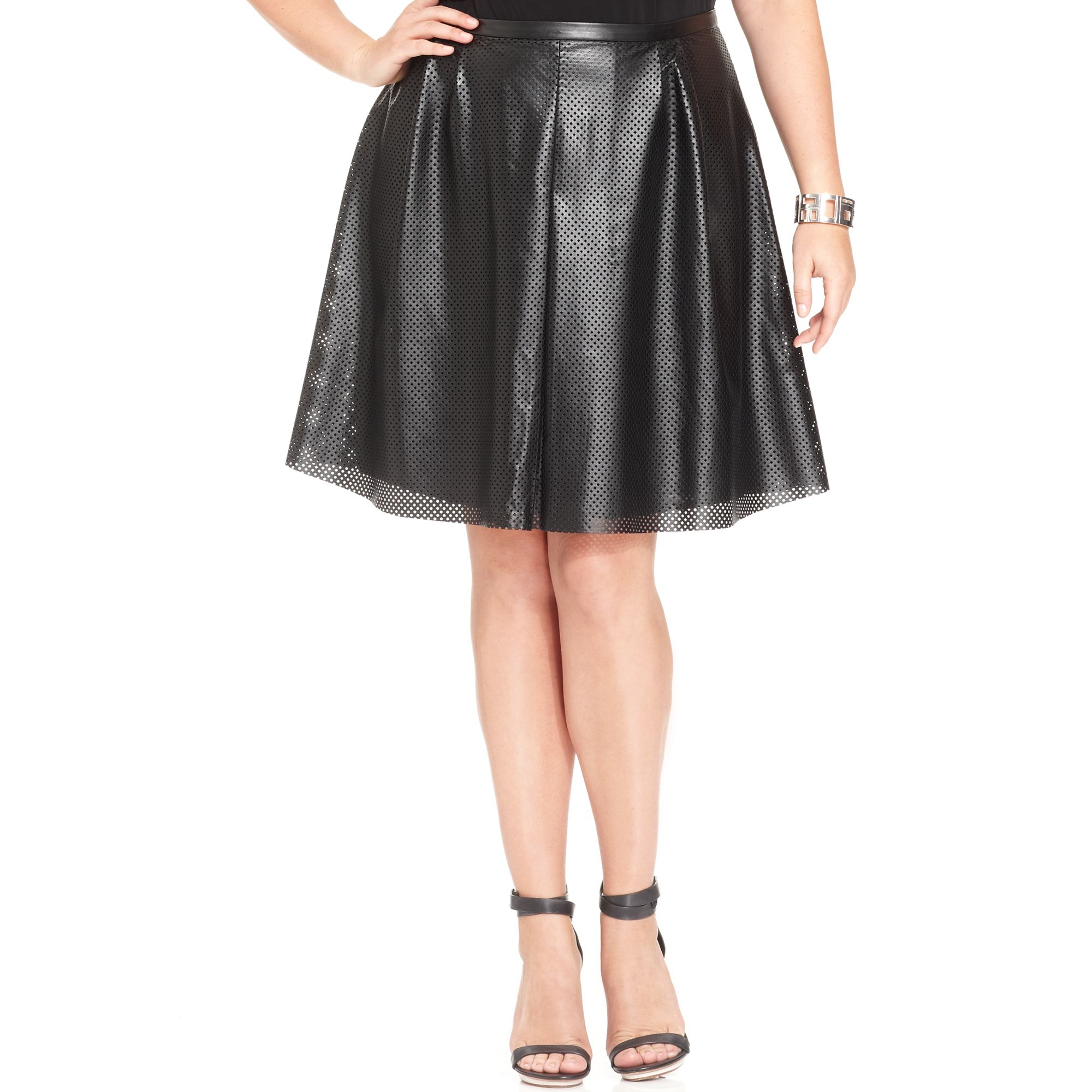 Calvin Klein Perforated Faux Leather A Line Skirt In Black