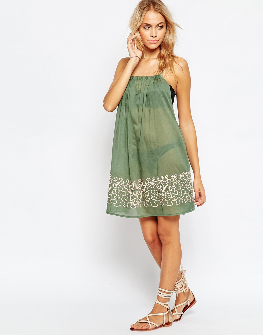 Lyst asos embroidered hem swing beach dress in green