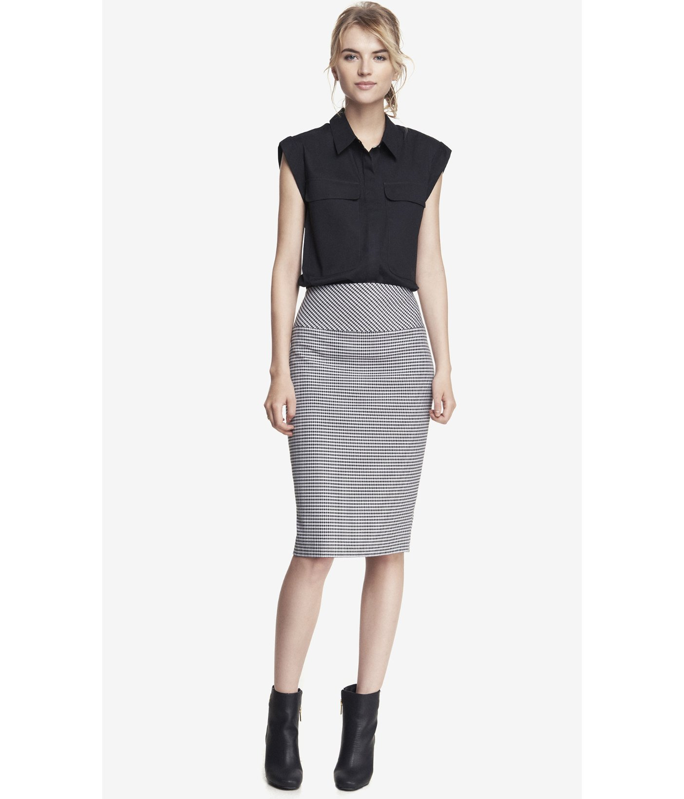 Express High Yoke Waist Midi Pencil Skirt in Gray | Lyst