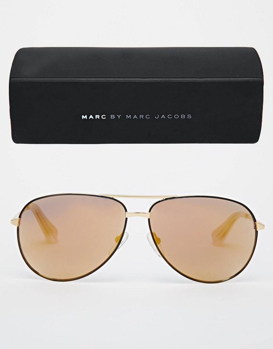 Marc Jacobs Gold Frame Sunglasses : Marc jacobs Marc By Aviator Sunglasses in Gold for Men Lyst