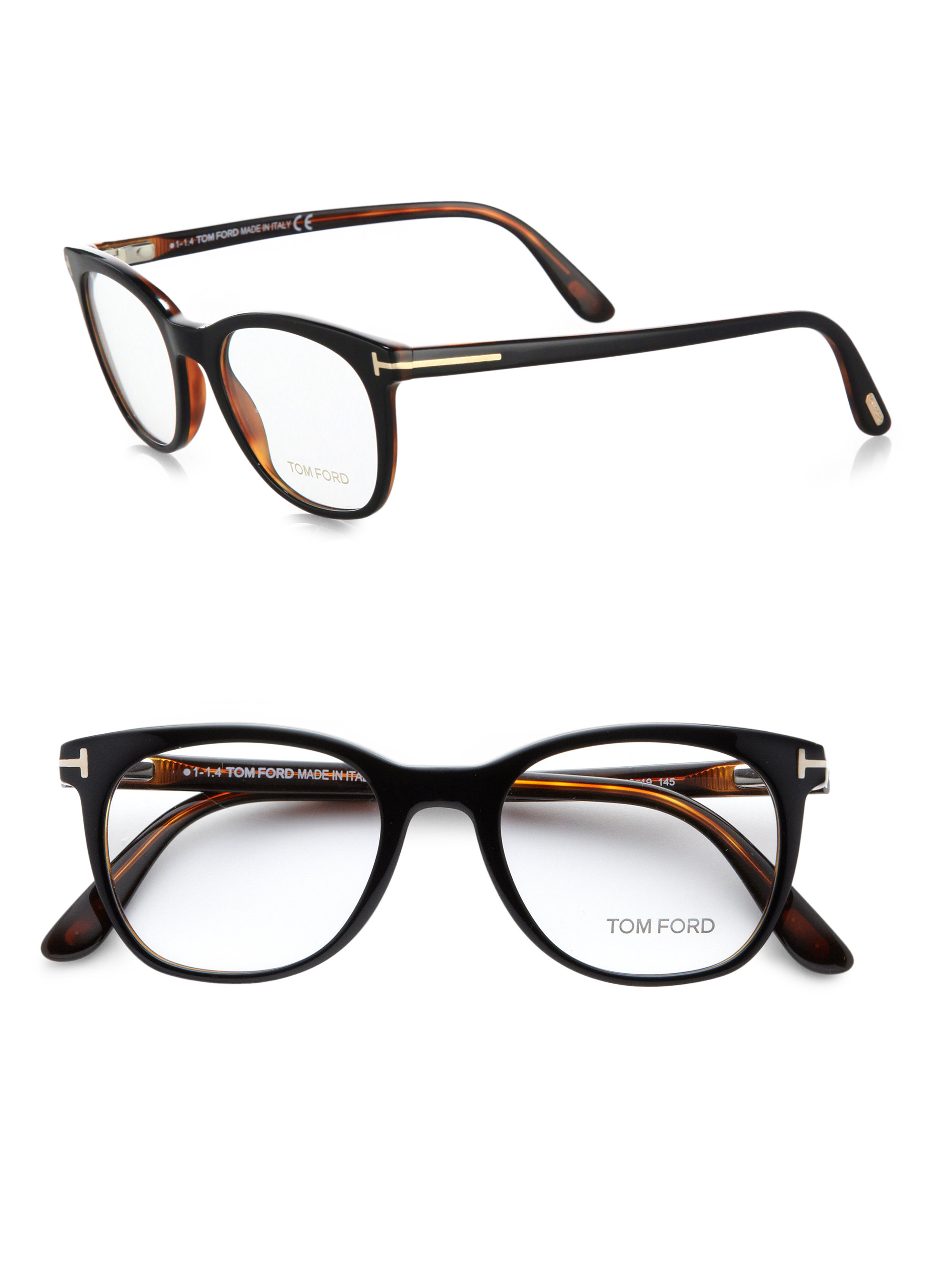 7e17e7ff23 ... Lyst  Tom Ford Round-Frame Tortoiseshell Acetate Optical Glasses
