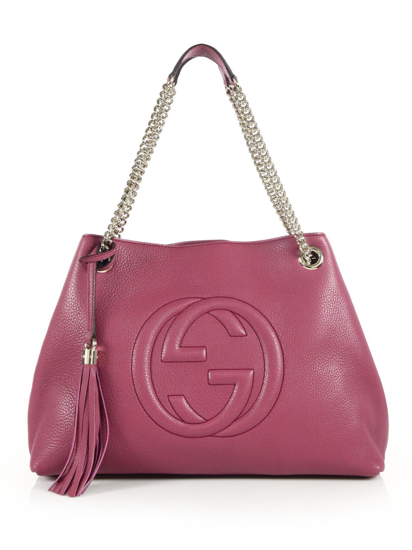 gucci soho leather shoulder bag in pink
