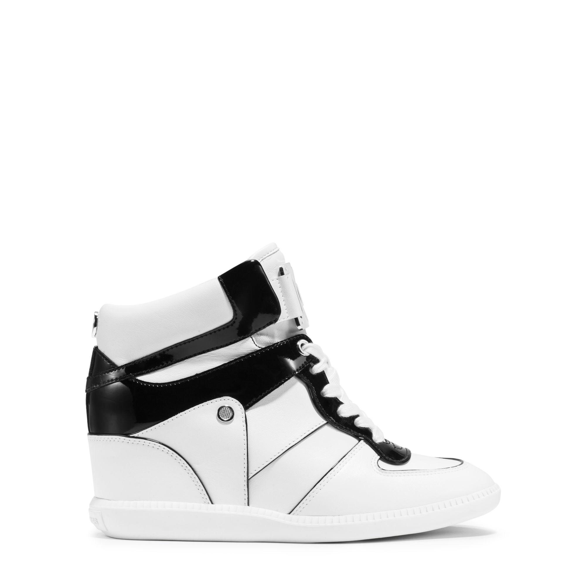 michael kors nikko high top leather sneaker in black lyst. Black Bedroom Furniture Sets. Home Design Ideas