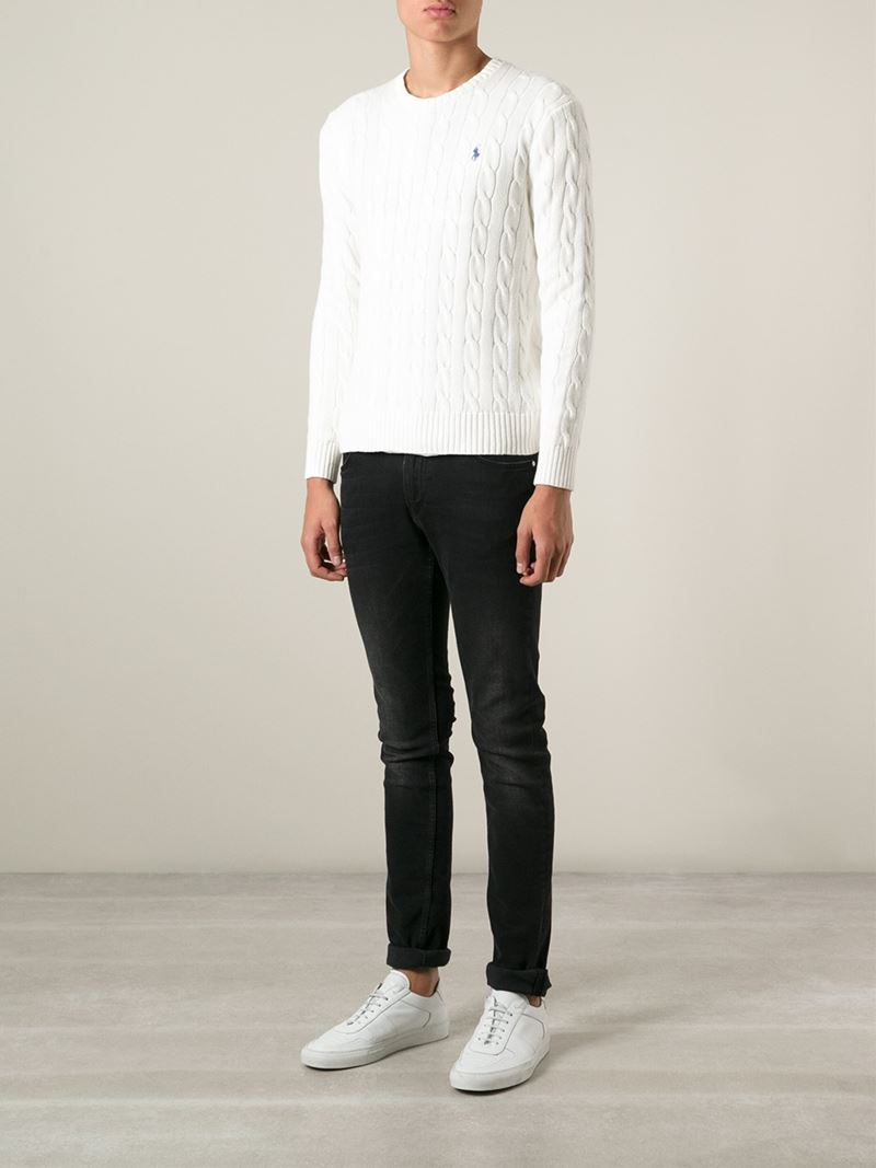 Polo ralph lauren Cable Knit Sweater in White for Men | Lyst