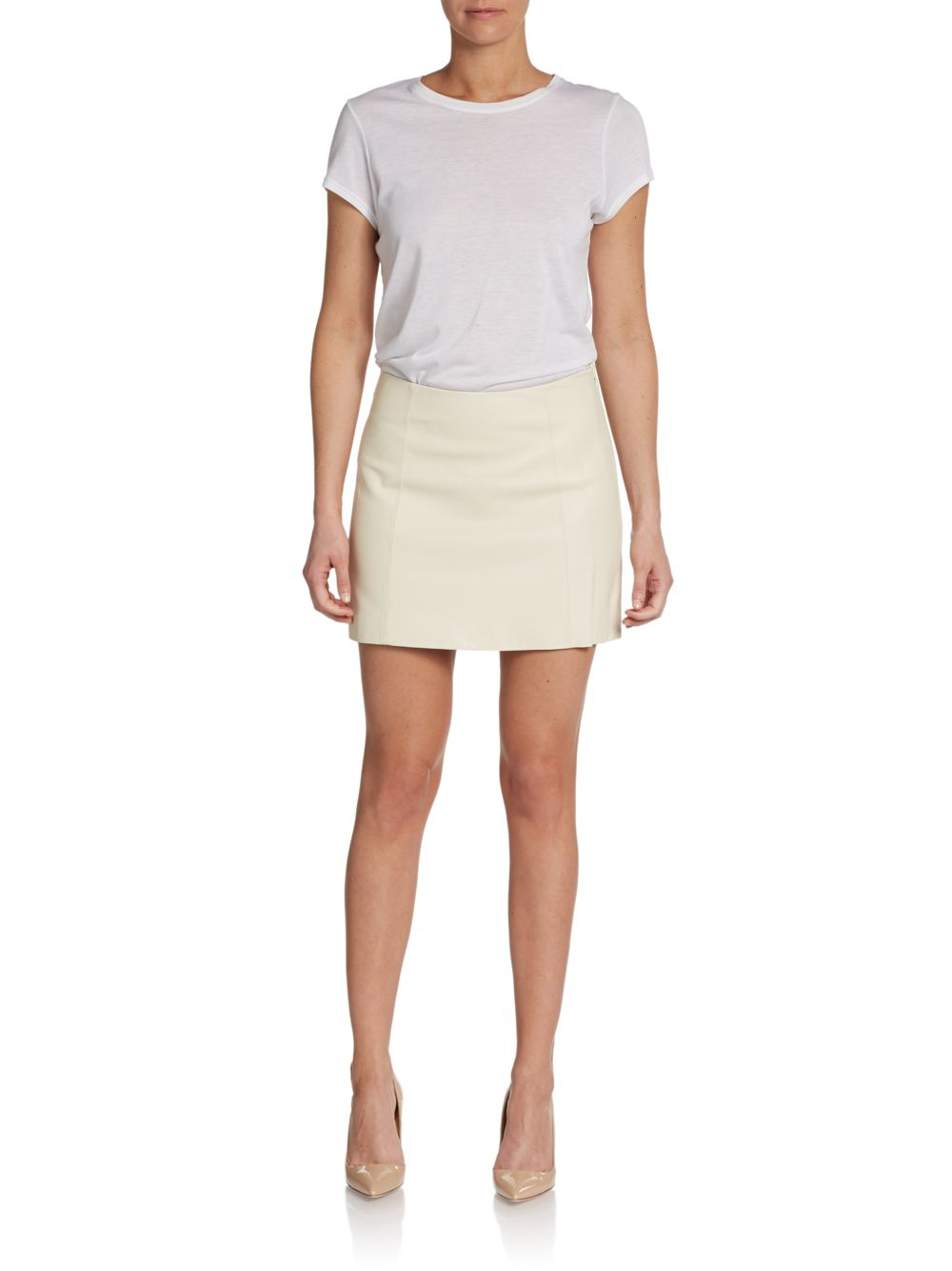 t by wang leather mini skirt in white lyst