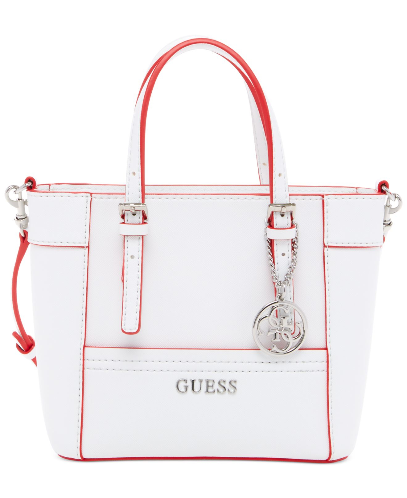 fef7e2a0193c Lyst - Guess Delaney Petite Tote With Crossbody Strap in White