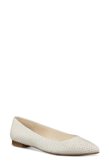 Nine West Onlee Leather Ballet Flats In White Lyst