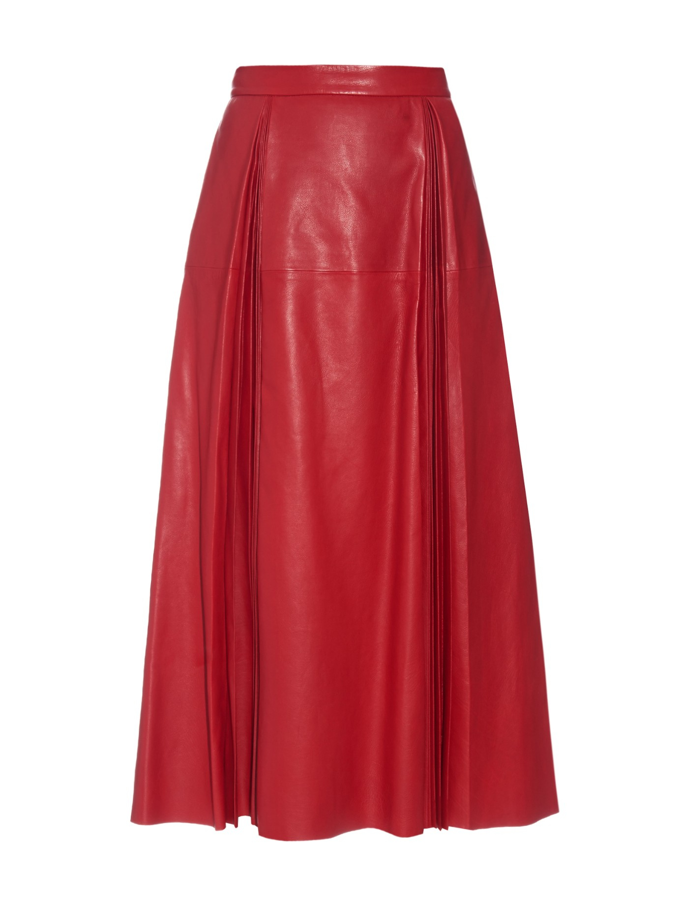 Gucci Pleated Leather Midi Skirt in Red | Lyst