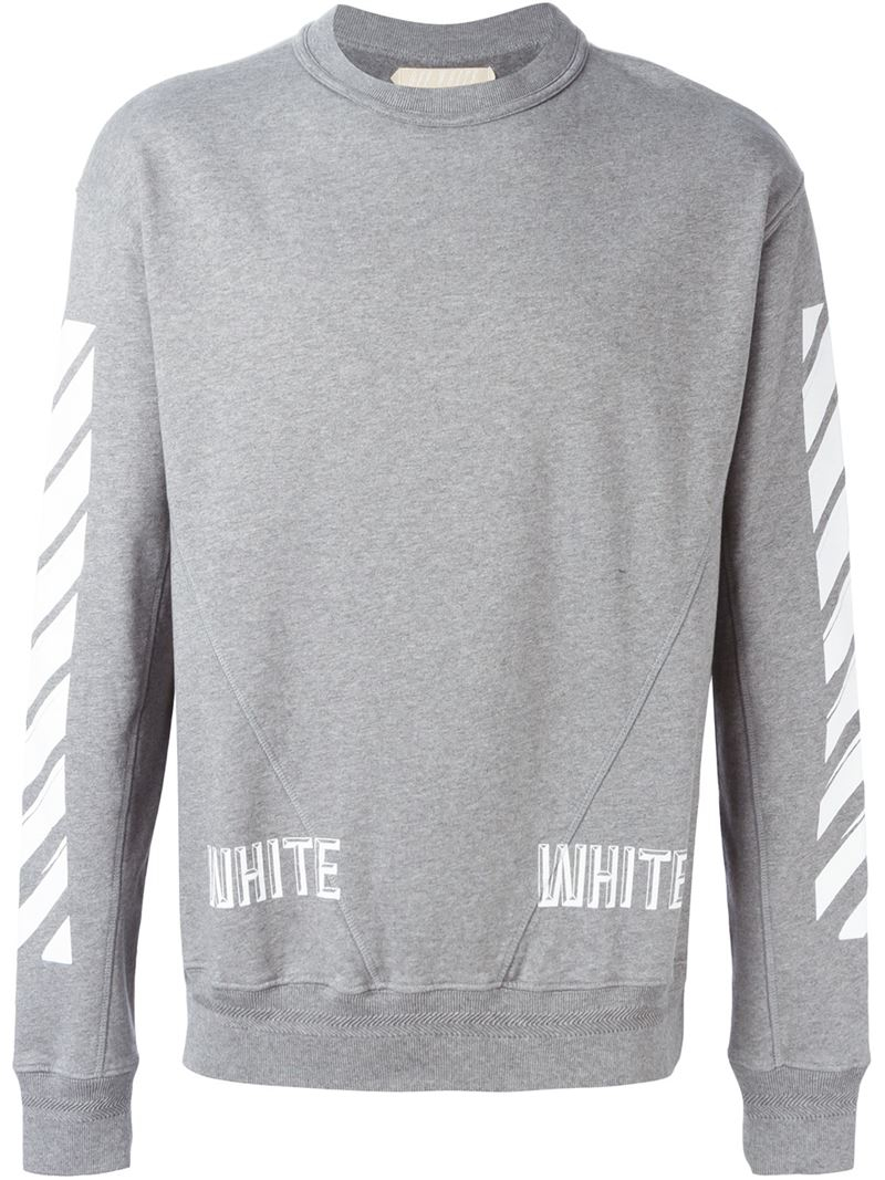 Off-white c/o virgil abloh Striped Print Sweatshirt in Gray for ...