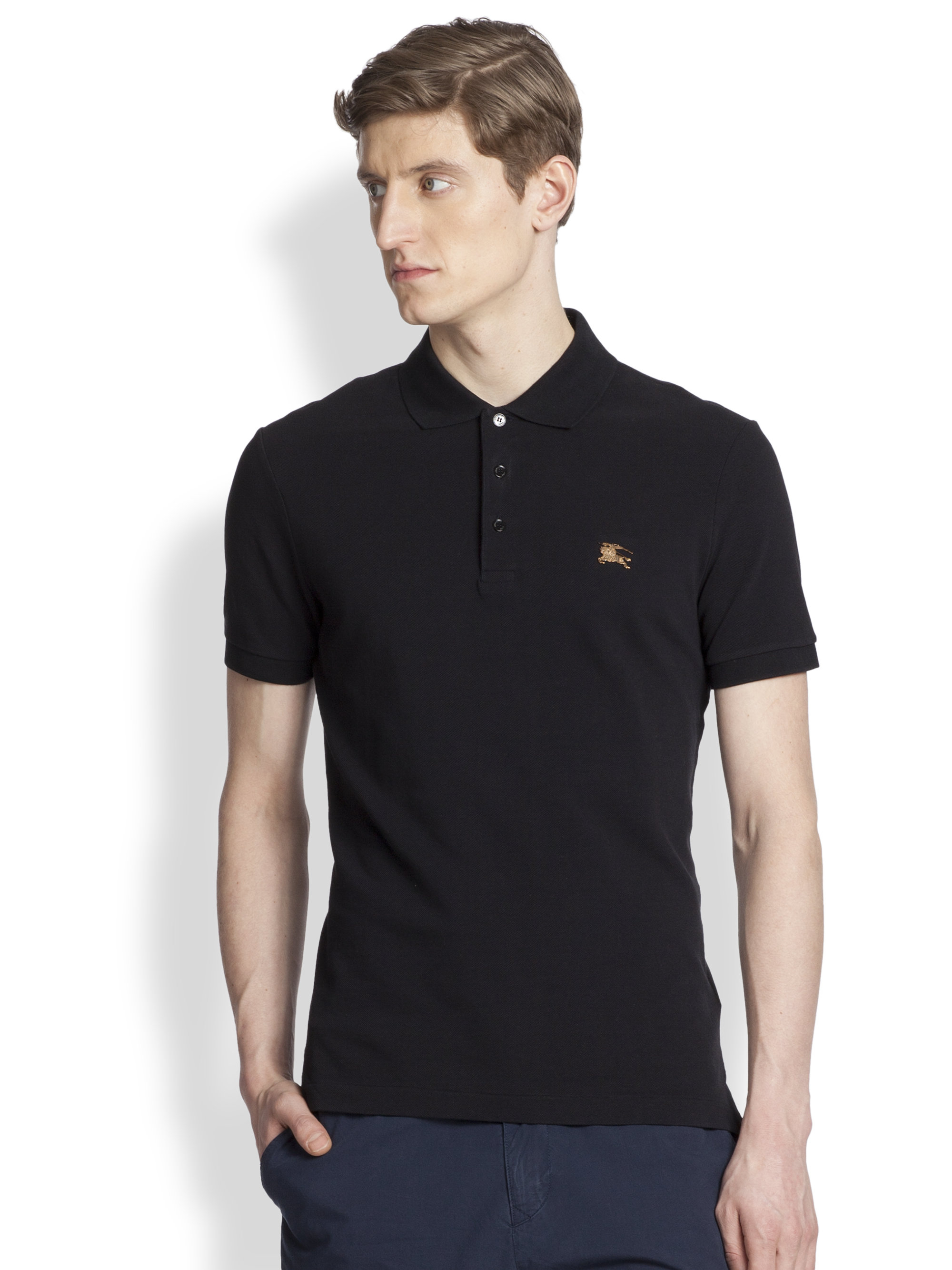 Burberry brit cassius polo in black for men lyst for T shirt burberry men