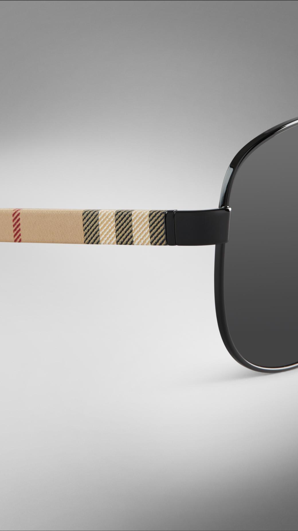 0cf4074a94b7e Lyst - Burberry Check Arm Aviator Sunglasses in Natural