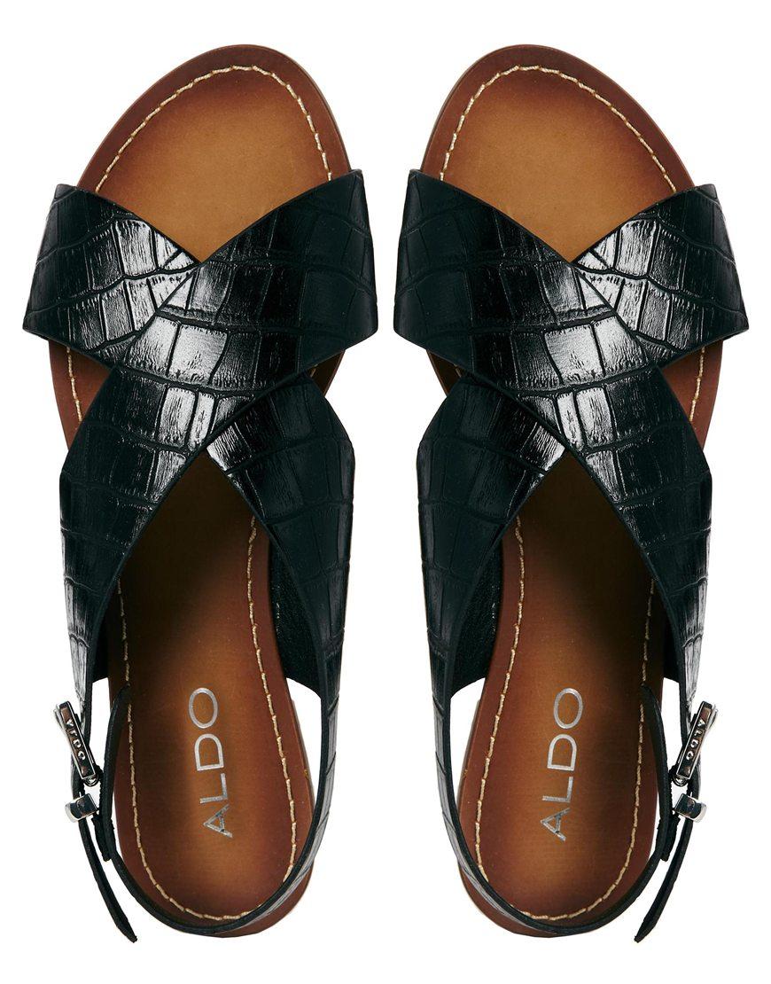 Lyst Aldo Codissago Black Cross Front Flat Sandals In Black